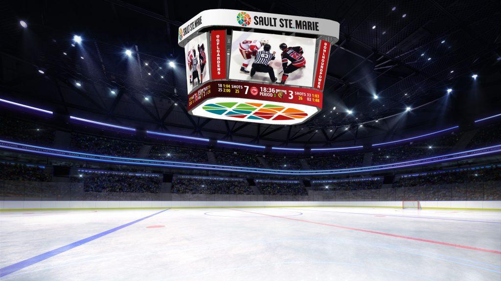 Sault Ste. Marie hockey video scoreboard.