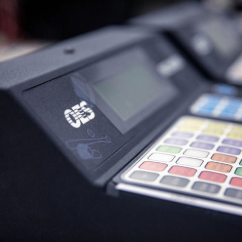 Close up of a scoreboard control panel