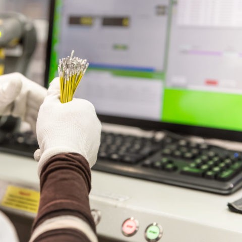 Employee checks the quality of the product, bunch of sliced wires with pins in hands of worker , manufacturing