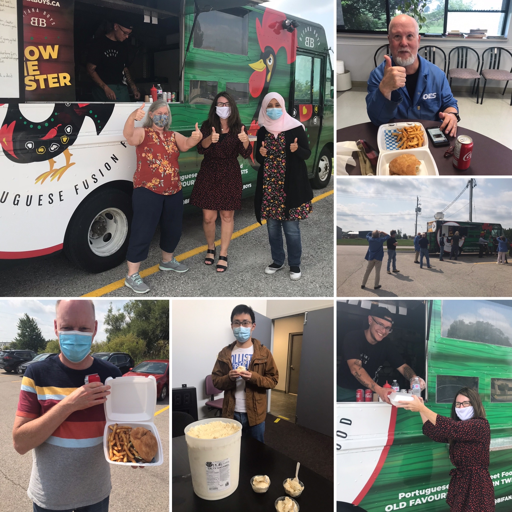 collage of photos showing people wearing face coverings and eating from a food truck