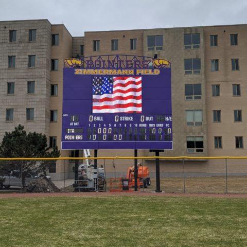 video baseball board on a field