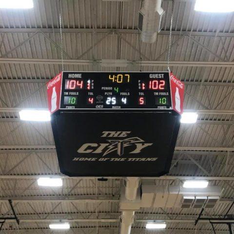 centre court scoreboard in a gym