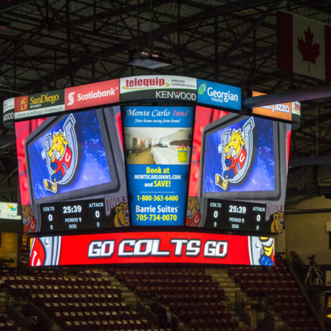 close up of the video display at centre ice at Barrie Molson Centre in Barrie Ontario