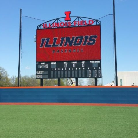 baseball video scoreboard at Illinois University