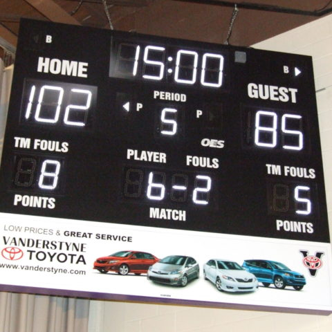 hanging scoreboard with ad space