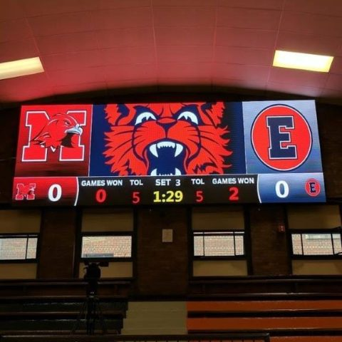 video scoreboard in the basketball gym of Evanston College