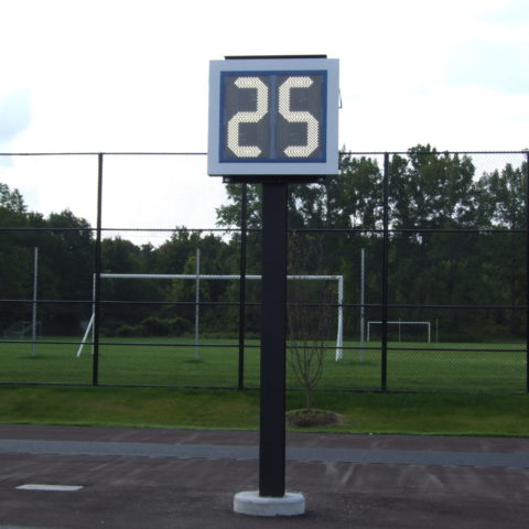 clock on a football field shwoing play time left