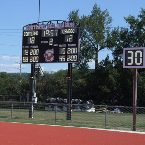 High school football scoreboard with play clock