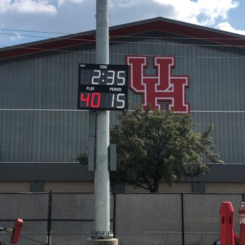 segment timer mounted to a pole at the University of Houston