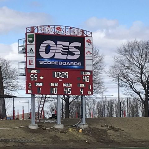 York University outdoor football scoreboard