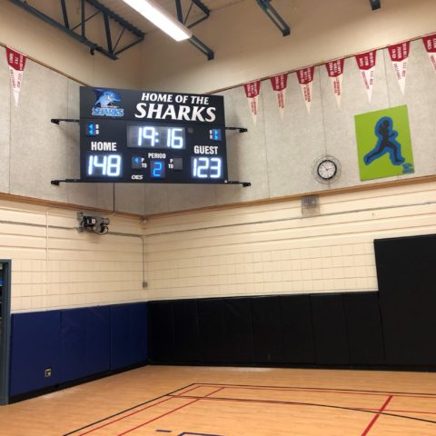 basketball scoreboard with both white and blue LED numbers