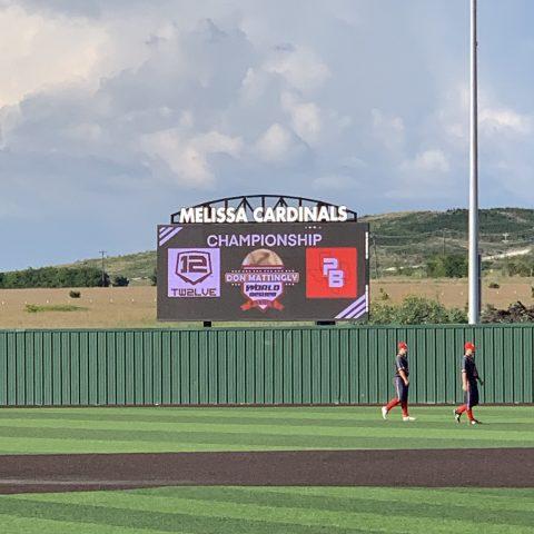Melissa Cardinals baseball scoreboard in field