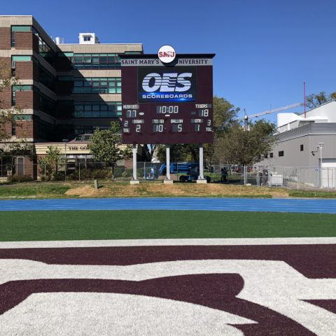 football video scoreboard at St Marys University in Halifax