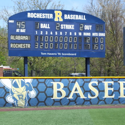 baseball scoreboard at rochester university
