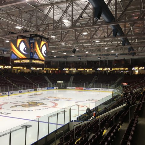 the Sarnia Sting logo being shown on the video board at the hockey arena in Sarnia Ontario