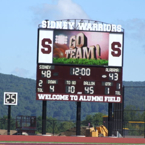 football scoreboard with video display
