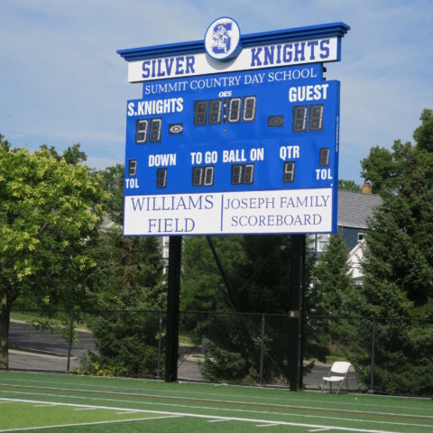 football scoreboard for a high school team called he silver knights