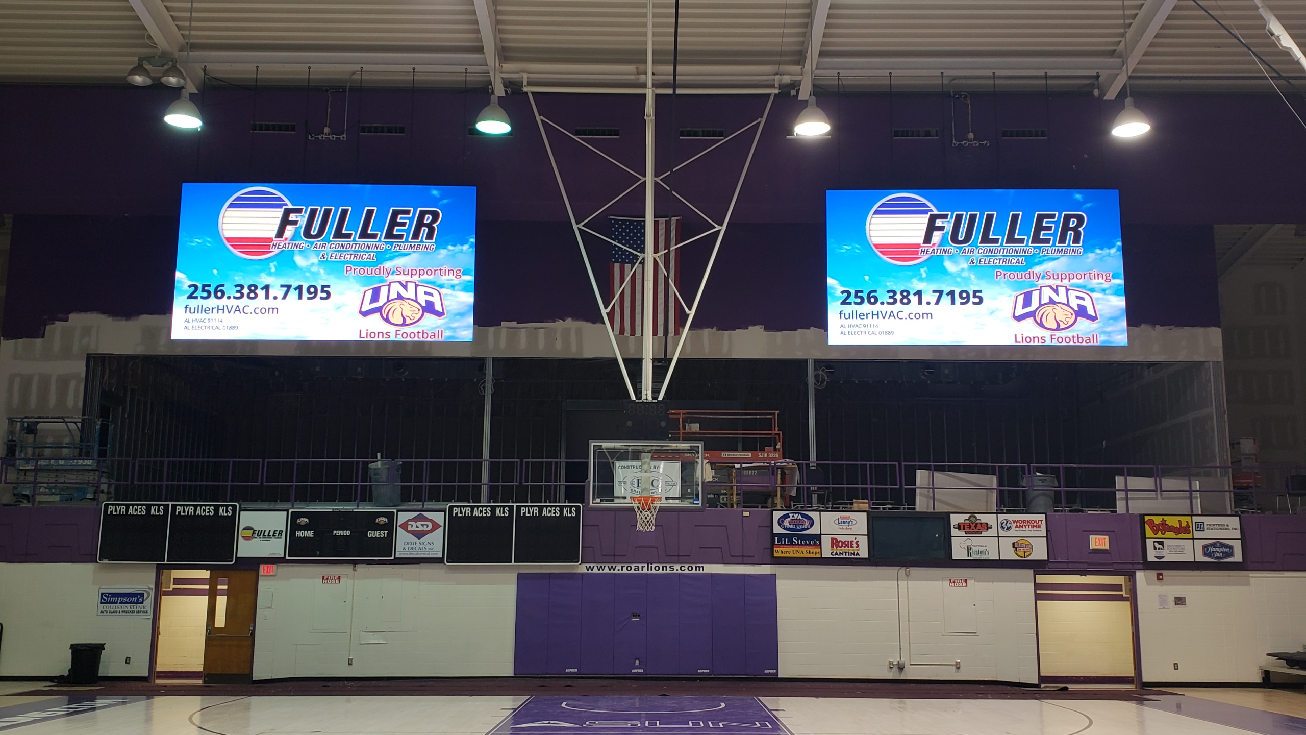 Two Large Video Screens on either side of the basketball net at The University of North Alabama