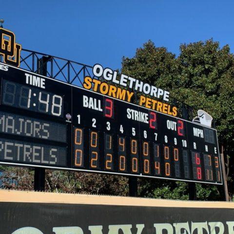 The baseball scoreboard at Oglethorpe University