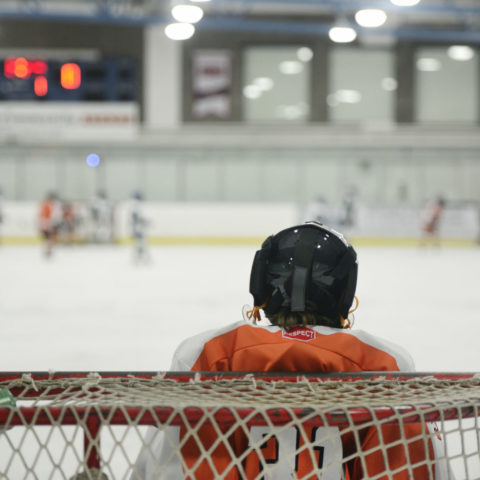hockey goalie watching the play