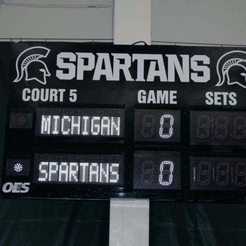 Tennis scoreboard at Michigan State University