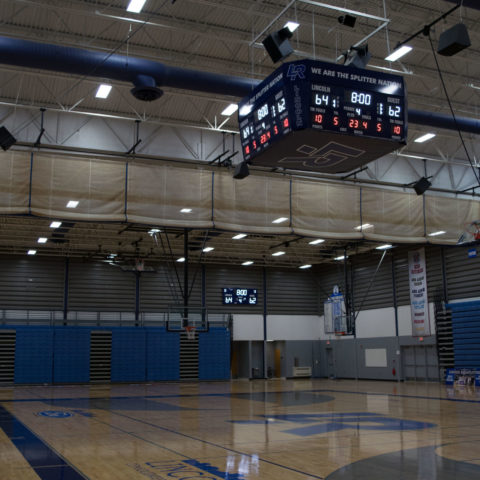 View of the basketball court at Lincoln High School in Michigan US