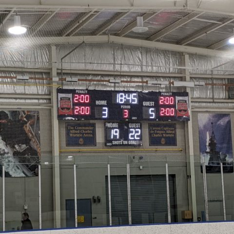 hockey scoreboard being protected by netting