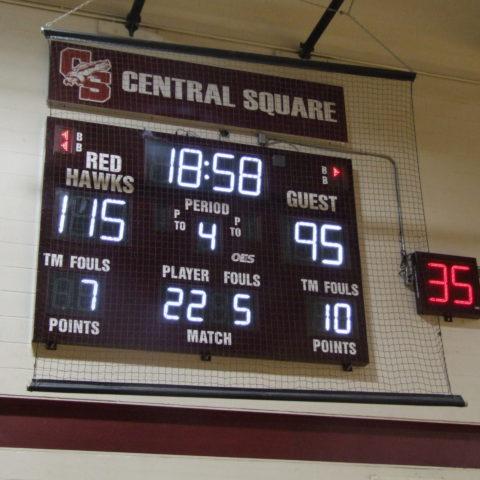 basketball scoreboard showing game stats