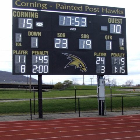 Lacrosse scoreboard showing the score after the first quarter