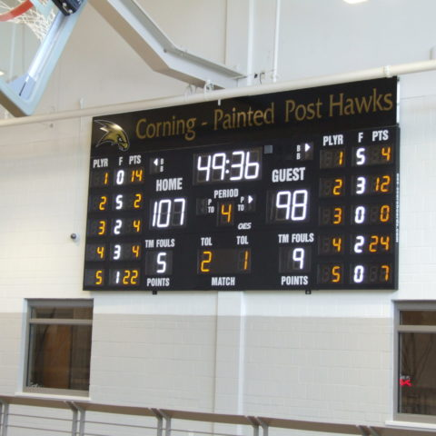 basketball scoreboard showing the final scores of the game