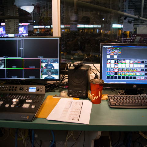 The control room set up with two computer monitors and keyboards
