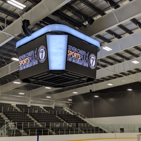 The video board at center ice at complex in Alberta
