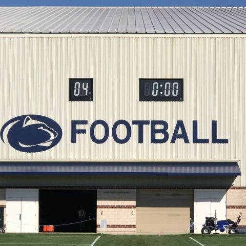 Football clocks at Penn State Foorball Practice facility