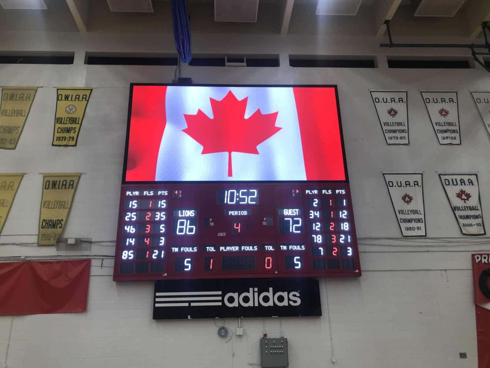 An Indoor scoreboard basketball scoreboard with an LED screen in above.