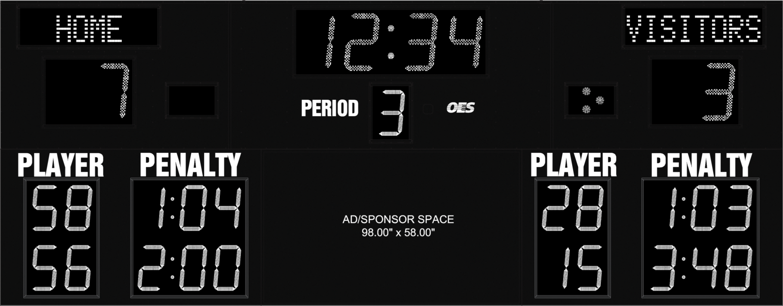 black scoreboard with ad space