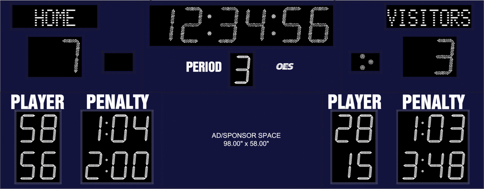 blue scoreboard with ad space