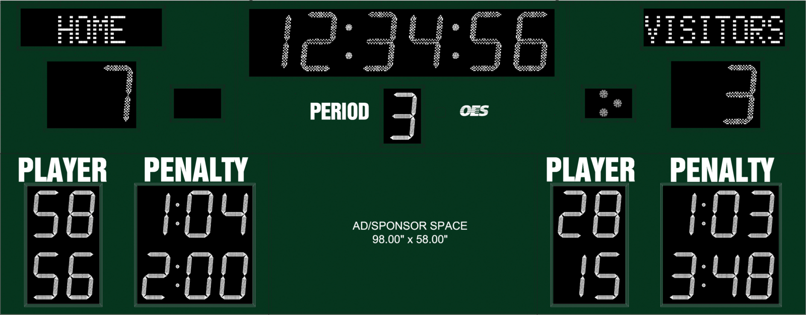 green scoreboard with sponsor space