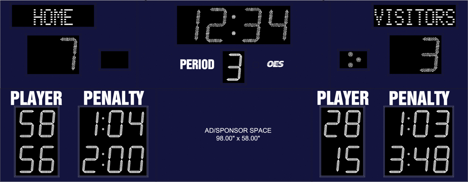 hockey scoreboard with ad space