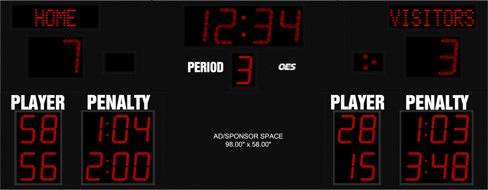 red light scoreboard with ad space