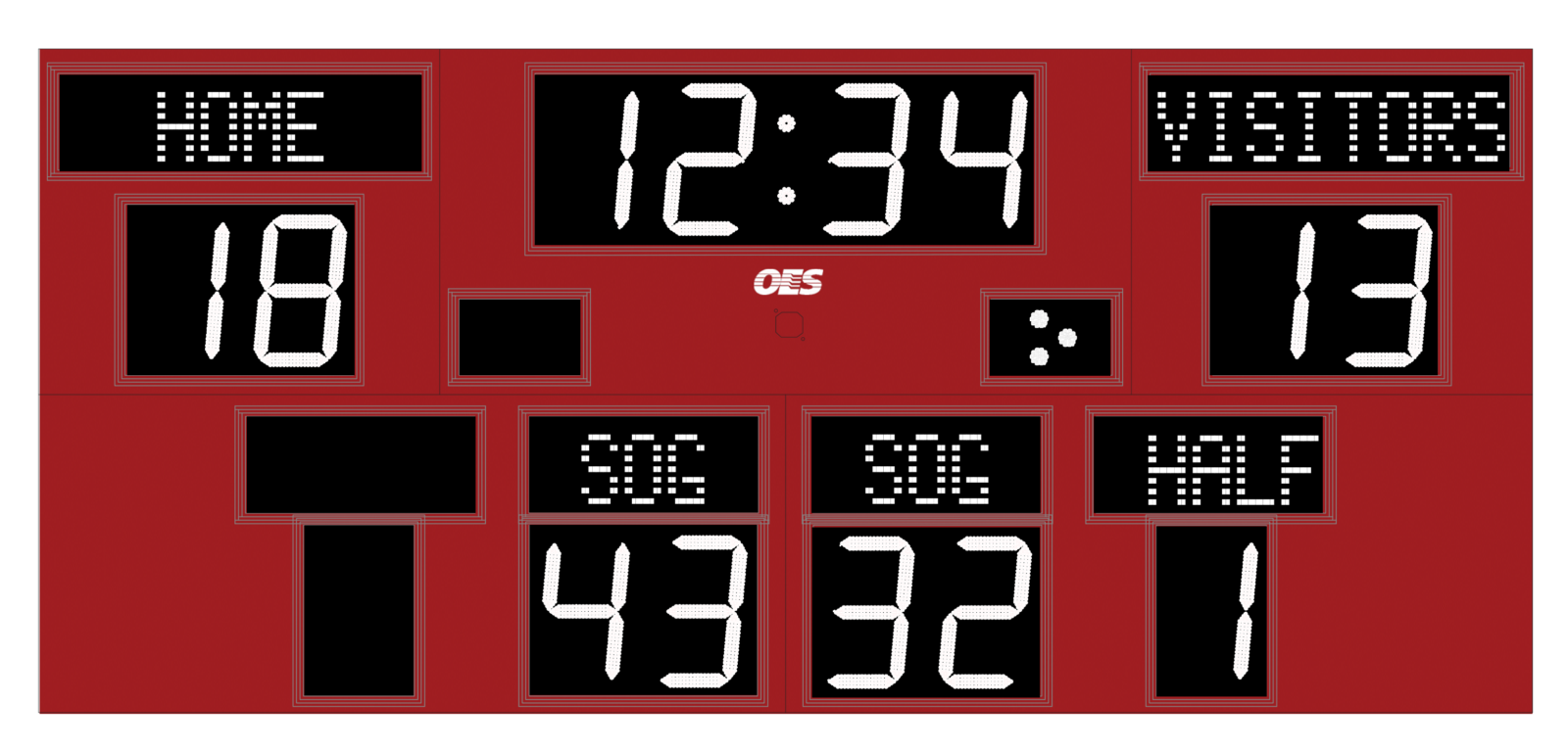 red and white scoreboard