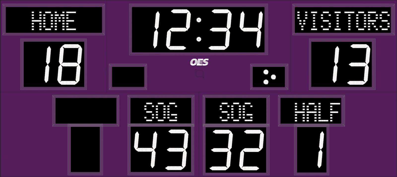 purple and white scoreboard