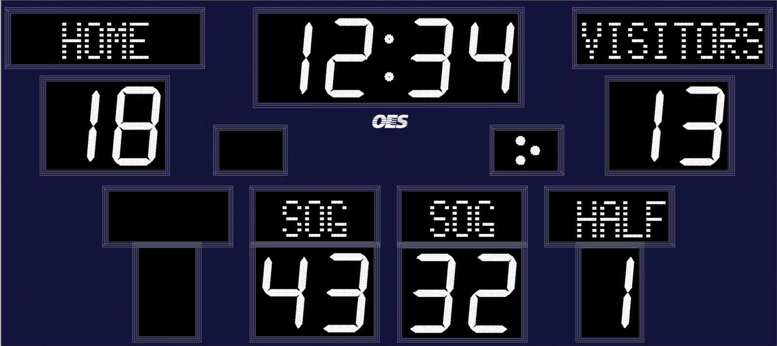 blue scoreboard with white text