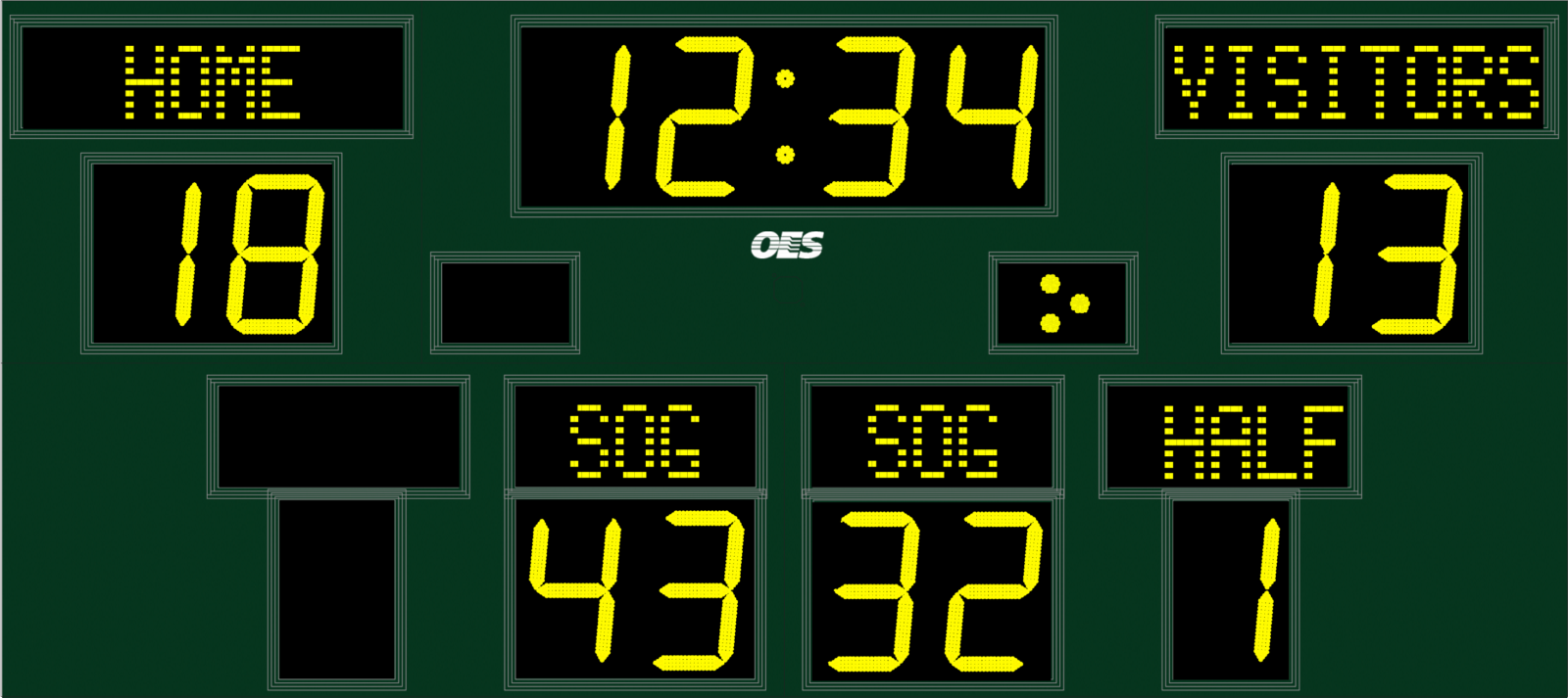 green scoreboard with yellow text