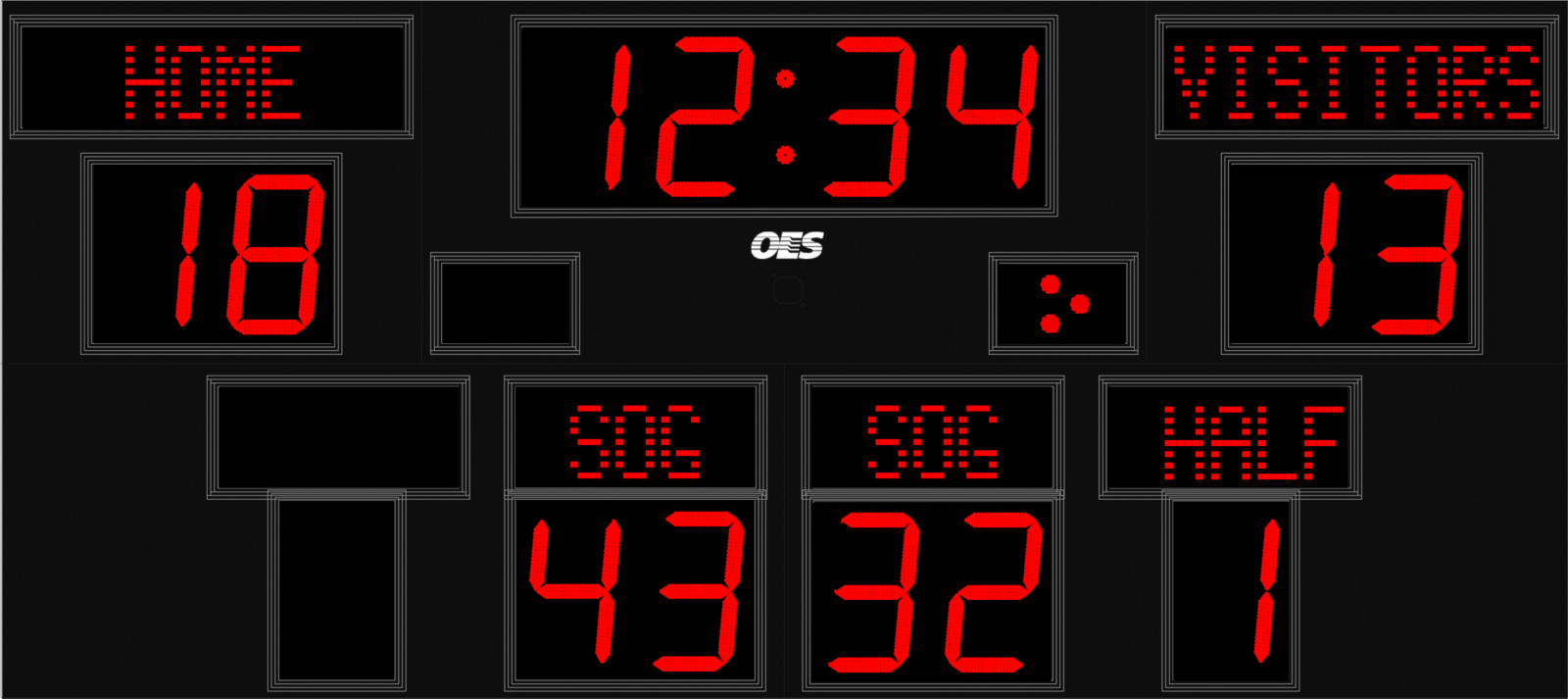 black scoreboard with red text