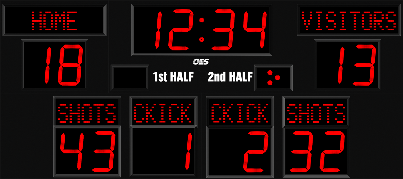 black scoreboard with red numbers
