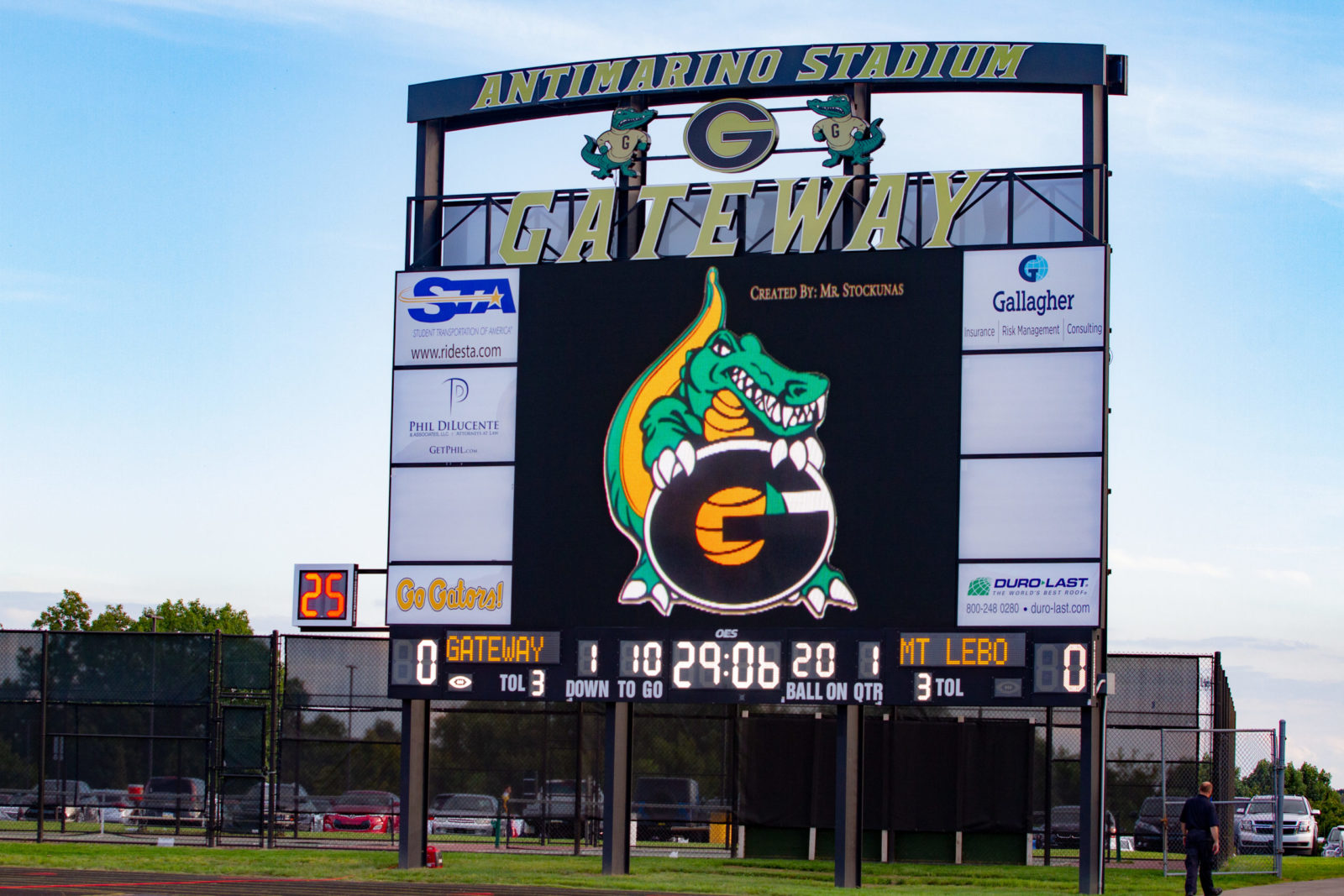 The Antimarino Stadium Gateway outdoor scoreboard.