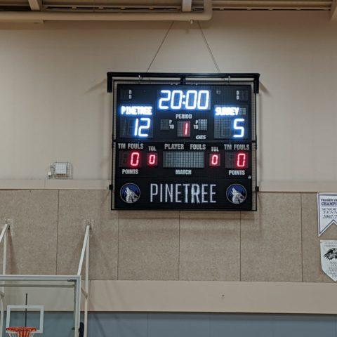 small basketball scoreboard in a gym