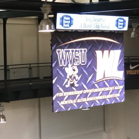 Video display in the basketball gym at West Liberty University