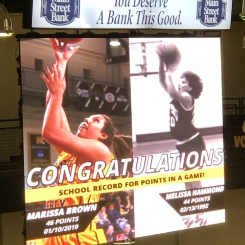 Video of the video board at West Liberty University congraulating a female player for breaking a 1970's scoring record