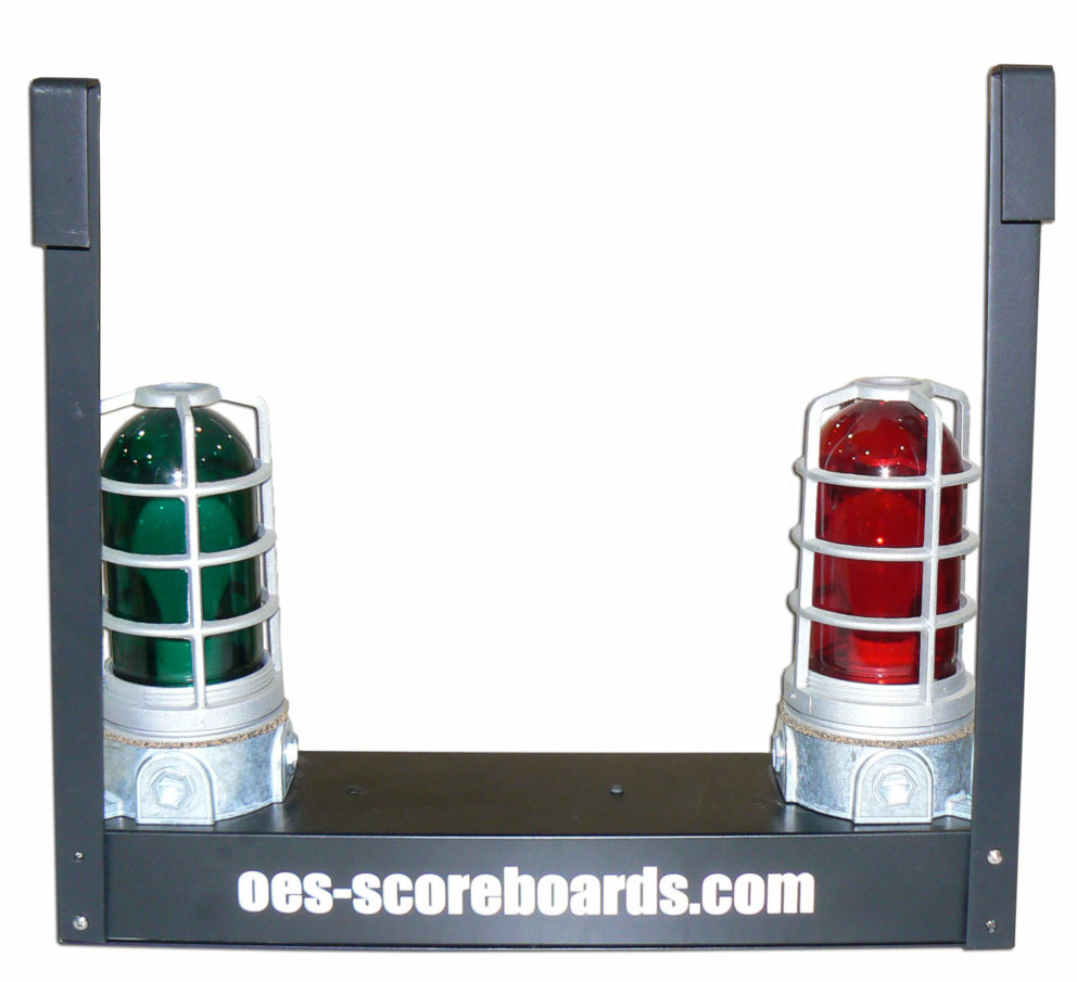 Goal lights with OES logo on the bottom.
